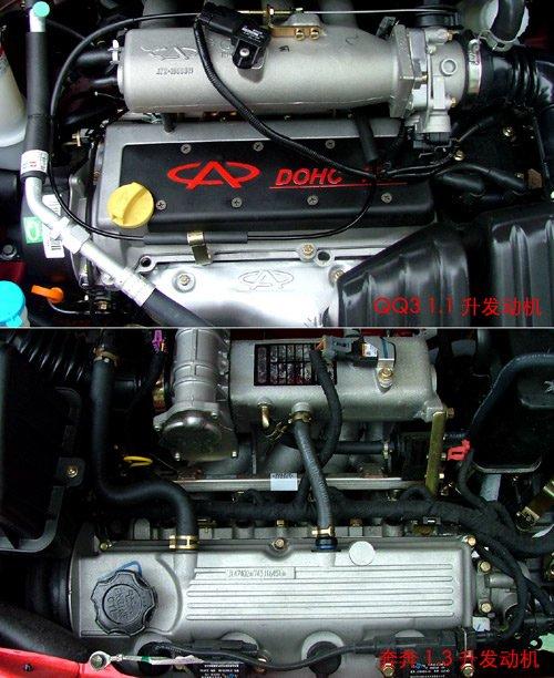 『qq3(上)与奔奔(下)的发动机对比』
