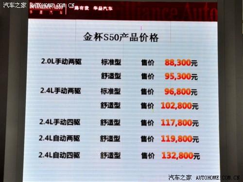 金杯 华晨金杯 金杯S50 2011款 2.4 AT四驱舒适型